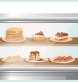 glass showcase of cafe or bakery shop with various vector image vector image