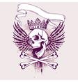 grunge skull apparel design vector image vector image