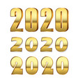 happy new year number 2020 set gold 3d numbers vector image