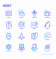 hobthin line icons set vector image vector image