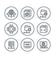 hosting networks ftp servers line icons set vector image