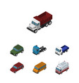 isometric car set of armored lorry freight and vector image vector image