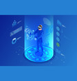 isometric virtual reality concept man wearing vector image vector image