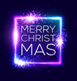merry christmas text on blue neon lights frame vector image