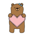 mom bear holding heart vector image vector image