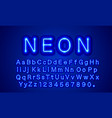 neon city color blue font english alphabet and vector image vector image