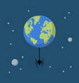 planet earth with spider vector image vector image