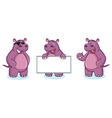 Purple Hippo Mascot happy vector image vector image