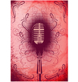 retro poster with a microphone and decorative elem vector image vector image