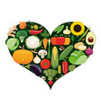 set of vegetable icons forming heart shape vector image vector image