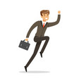 smiling successful businessman jumping with his vector image vector image