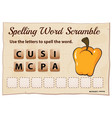 spelling word scramble game with word capsicum vector image vector image