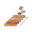 steps up to coin doodle drawn hand vector image vector image
