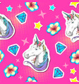 summer seamless bright pattern with unicorn vector image vector image