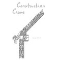tower construction crane line art on white vector image vector image