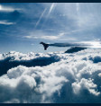 wing plane in sky among clouds vector image