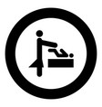 woman and baby black icon in circle vector image vector image