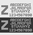 zebra font with vertical stripes line alphabet vector image