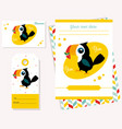 party invitation template with funny toucan vector image