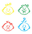set of cute baby emoticons very simple but vector image