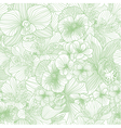 Seamless flower line art pattern vector image