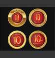 10 years warranty golden labels collection 4 vector image vector image
