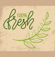 100 fresh green logo with tree branch on grunge vector image