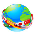 a earth globe with flags of countries vector image vector image