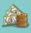 bills and coins commerce corrency vector image vector image