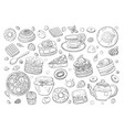 black and white big set different elements of vector image vector image
