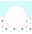 Blue greeting card with hearts vector image vector image