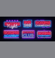 boxing neon signs collection boxing night vector image