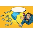 Businessman catching money with a butterfly net vector image vector image