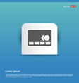 cassette icon - blue sticker button vector image