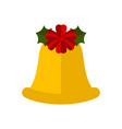 christmas bell with holly leaf decoration icon vector image vector image