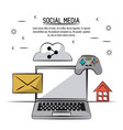 colorful poster of social media with icons mail vector image vector image