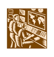 Control Room Command Center Headquarter Woodcut vector image
