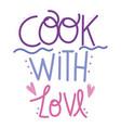 cooking lettering handwritten calligraphy cook vector image