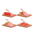 cut meat and fish isometric set chef knife vector image vector image