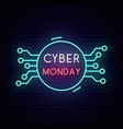 cyber monday neon sign board bright sale sign vector image