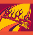 electric guitar on fire in full color and flames vector image