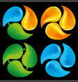 elemental circles water drop fire flame and leaf vector image
