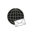 envelope on the globe black icon vector image