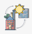 factory with solar energy with leaves vector image vector image