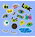 Fashion patch badges Pop art Eyes set Stickers vector image vector image