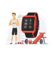 fitness tracker - modern cartoon character vector image