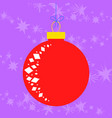 flat red glass ball christmas toy on a purple vector image