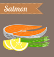 flat salmon with asparagus vector image