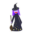 fun young witch with broomstick vector image vector image