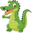 funny crocodile standing and posing with hand wavi vector image vector image